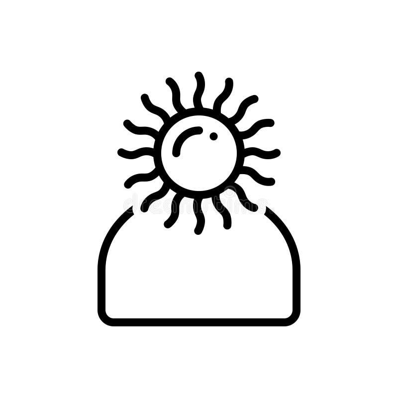 Czarna kreskowa ikona dla Optymistycznie, osobowości i obiecującego, royalty ilustracja