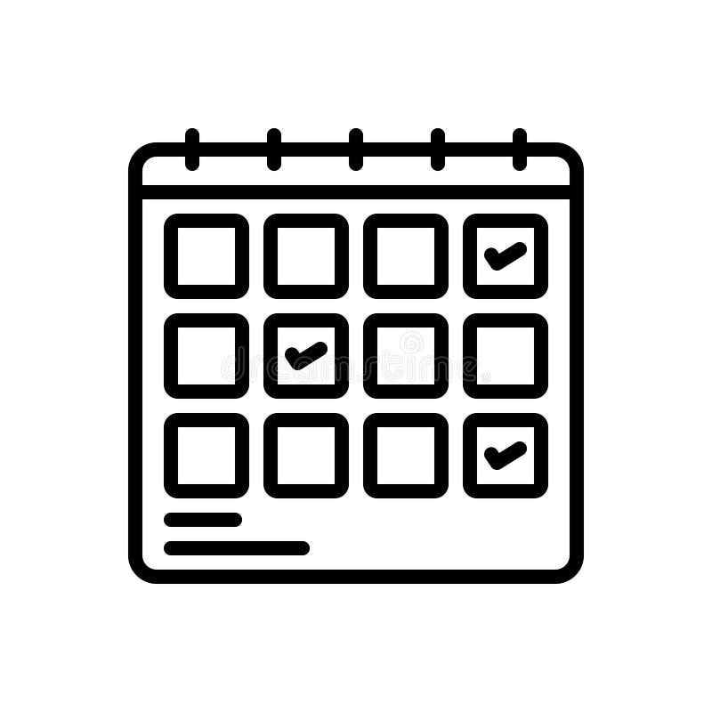 Czarna kreskowa ikona dla planowania, planification i projekta rozkładu, ilustracji
