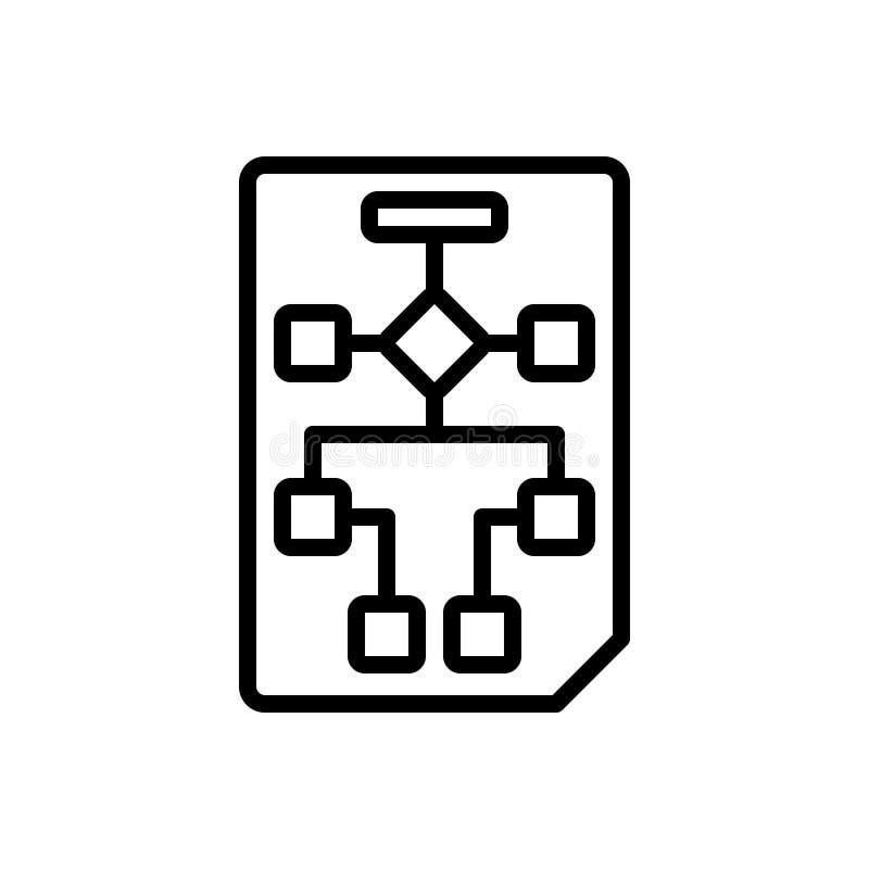 Czarna kreskowa ikona dla planowania, planu i projekta obieg, ilustracja wektor