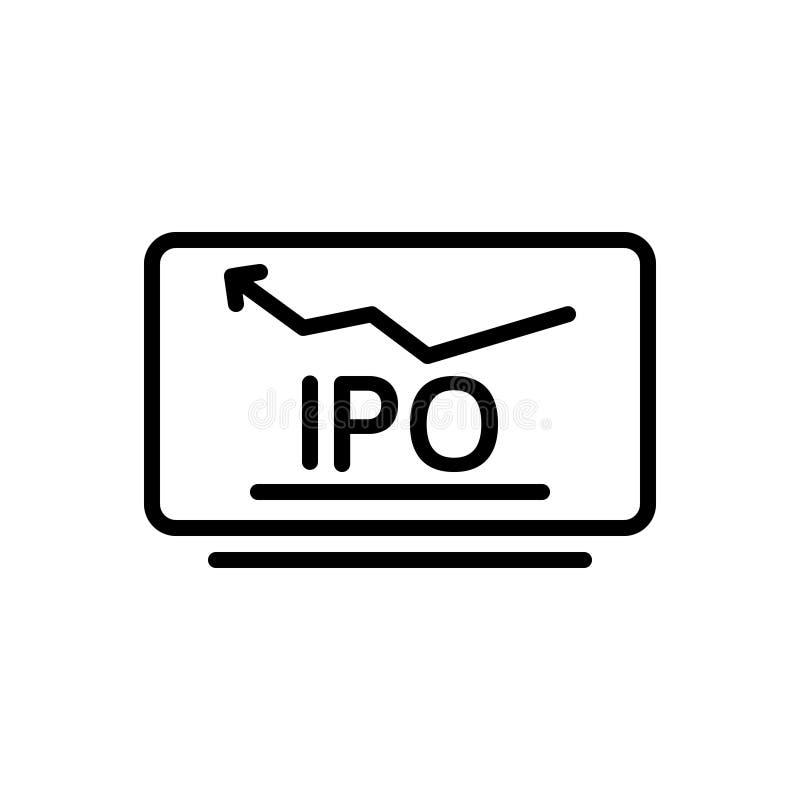 Czarna kreskowa ikona dla Początkowej Jawnej oferty, inicjału i rynku, royalty ilustracja