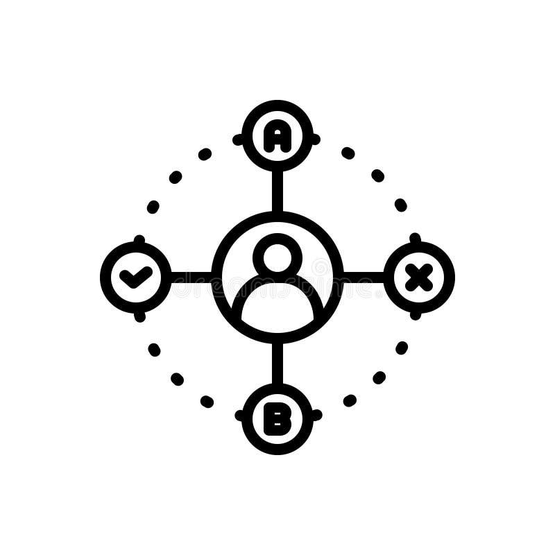 Czarna kreskowa ikona dla podejmowanie decyzji, pojęcia i brainstorming, ilustracja wektor