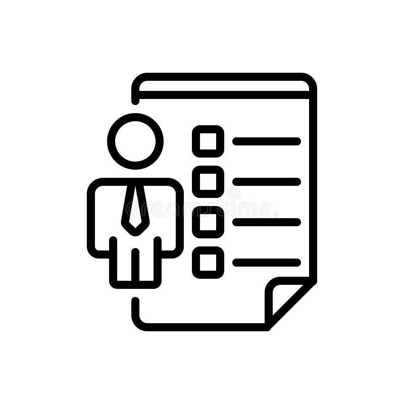Czarna kreskowa ikona dla pracownik umiejętności, pracownika i szyka, royalty ilustracja