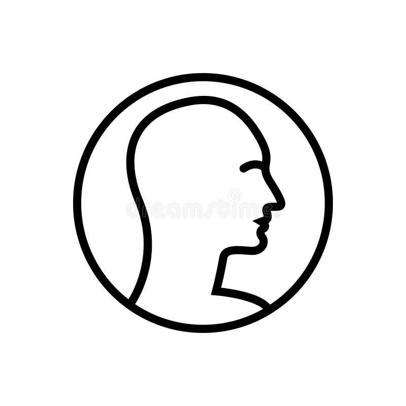 Czarna kreskowa ikona dla profilu, klienta i użytkownika istoty ludzkiej, ilustracji