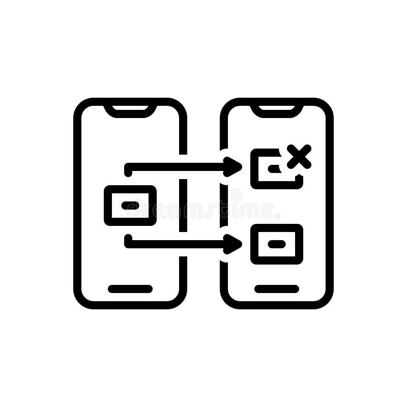 Czarna kreskowa ikona dla Reassign, reappoint i wyznacza ilustracji