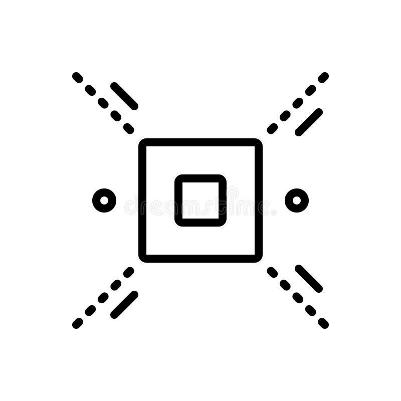 Czarna kreskowa ikona dla Rozgraniczam, delimitate i definiuje royalty ilustracja