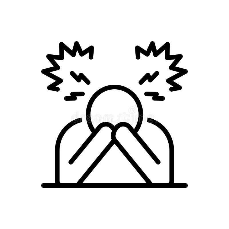 Czarna kreskowa ikona dla rozpacza, rozczarowanie, frustracja ilustracja wektor