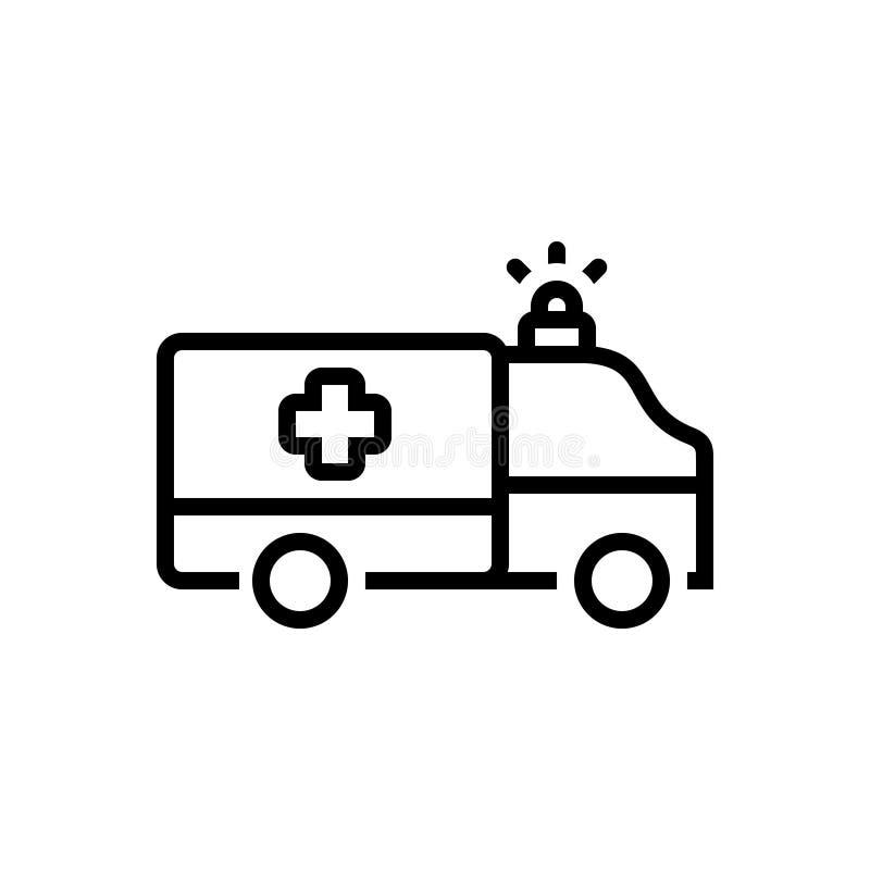 Czarna kreskowa ikona dla sanitariusza, ambulansowy i medyczny ilustracji