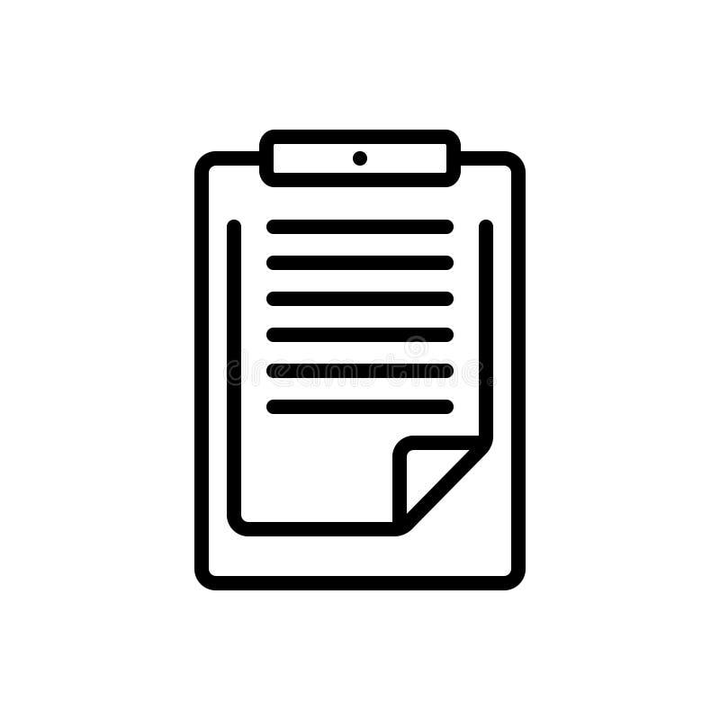 Czarna kreskowa ikona dla schowka, pritoritize i pamięta ilustracji