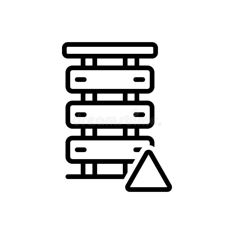 Czarna kreskowa ikona dla serweru błędu, serweru i baza danych, ilustracja wektor