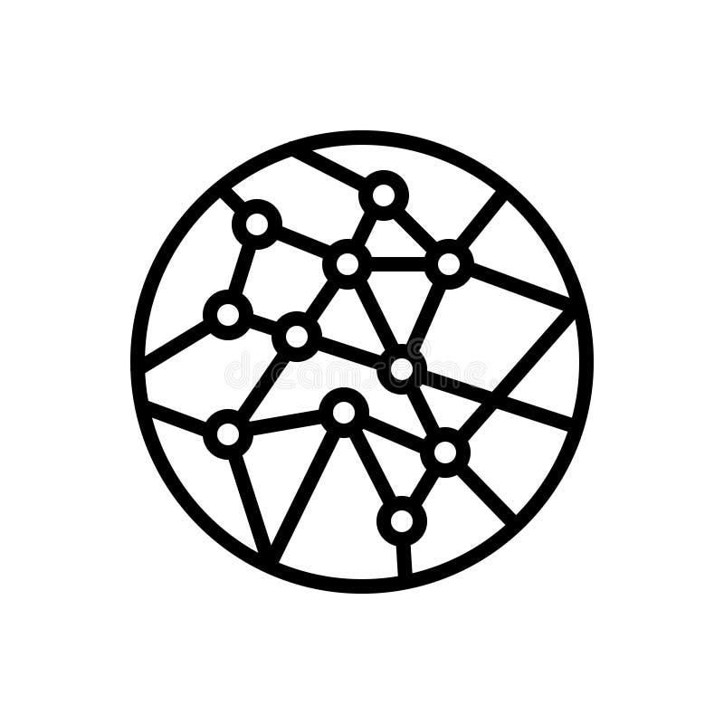 Czarna kreskowa ikona dla sieć związku, sieci i obieg, ilustracja wektor