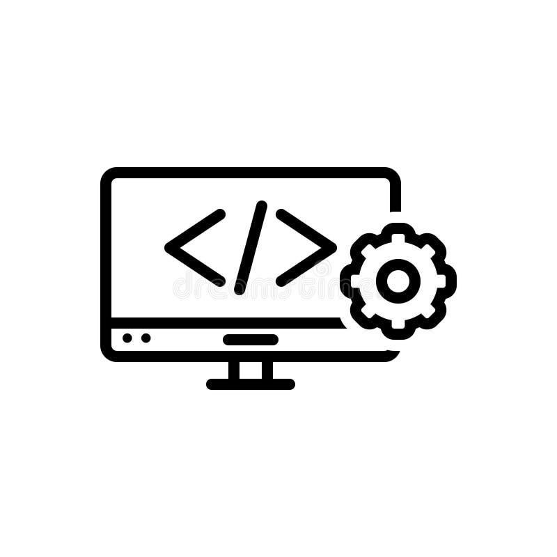 Czarna kreskowa ikona dla sieci Rozwija, kodować i html ilustracja wektor