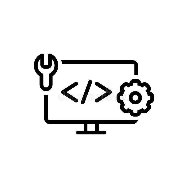 Czarna kreskowa ikona dla sieci Rozwija, koduje i html, ilustracja wektor