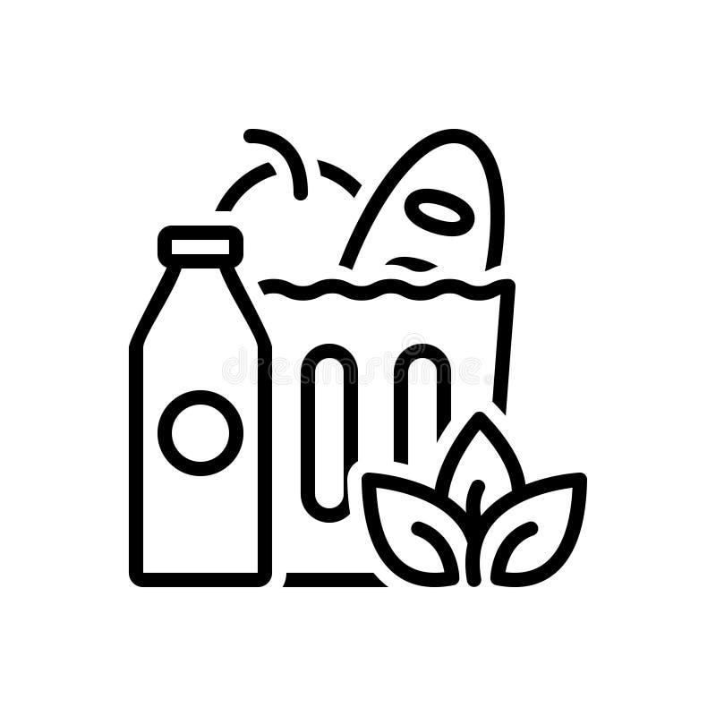 Czarna kreskowa ikona dla sklepów spożywczych, jedzenia i supermarketa, ilustracji