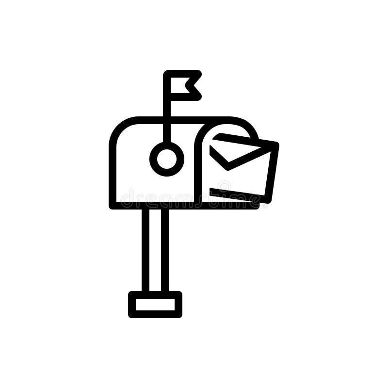 Czarna kreskowa ikona dla skrzynki pocztowej, pobox i listowego pudełka, ilustracja wektor