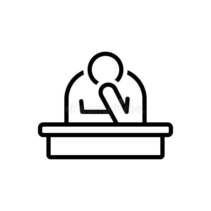 Czarna kreskowa ikona dla Smutnego, zmartwionego i przytłaczać, ilustracji