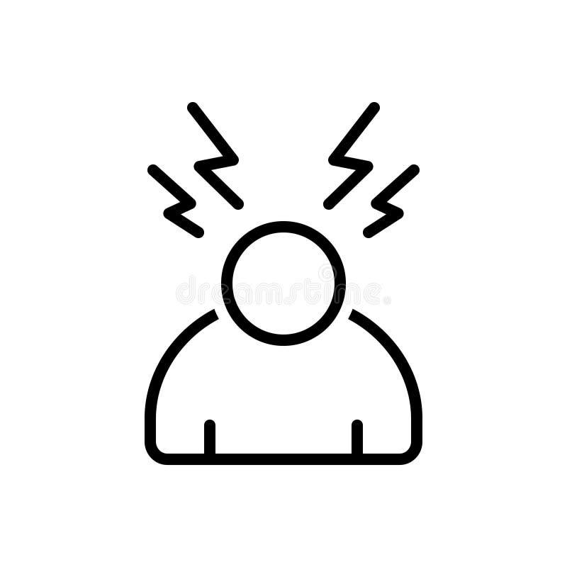 Czarna kreskowa ikona dla stresu, zmartwiony i ciśnieniowy royalty ilustracja