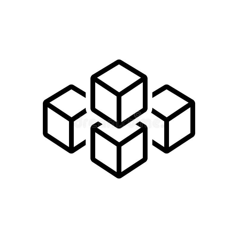 Czarna kreskowa ikona dla sześcian grafiki kwadraty, kwadrat i technologia, ilustracji