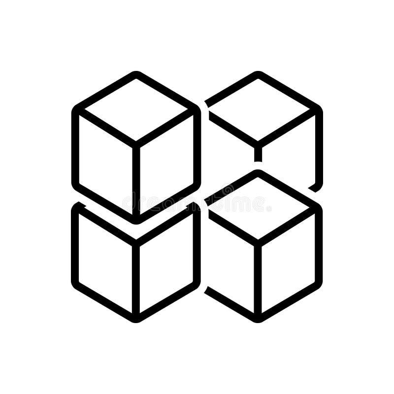 Czarna kreskowa ikona dla sześcian grafiki kwadraty, kwadrat i wielobok, royalty ilustracja