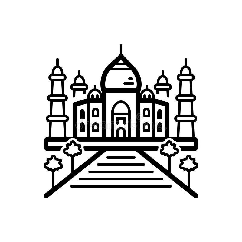 Czarna kreskowa ikona dla Taj mahal, indaia i punktu zwrotnego, royalty ilustracja