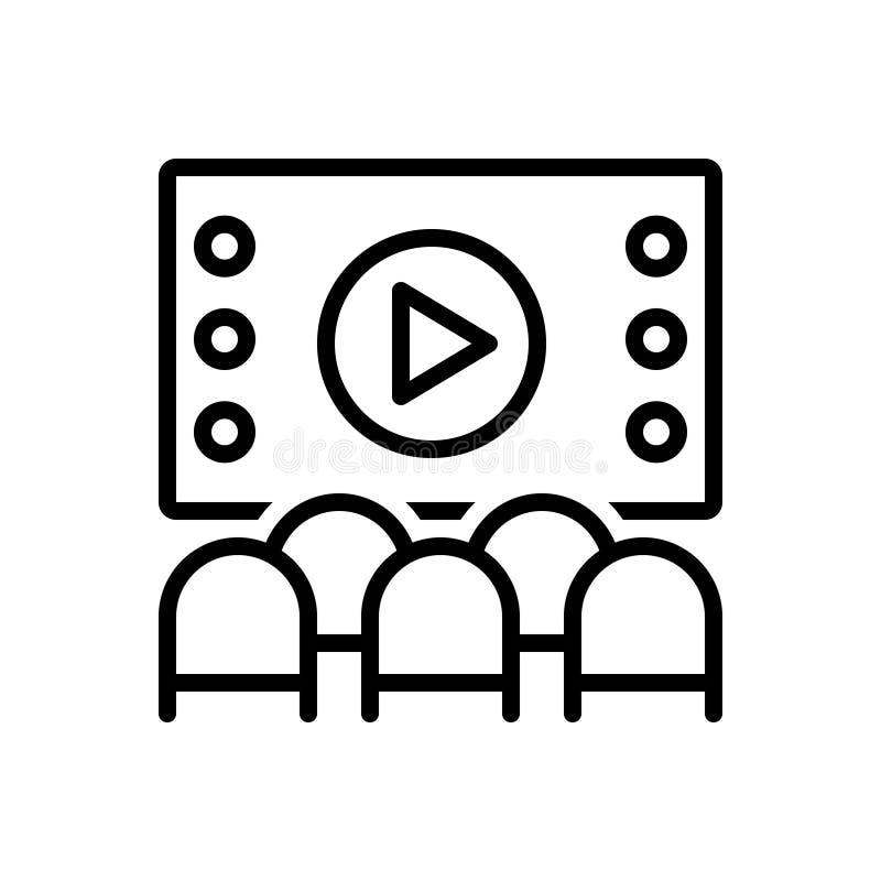 Czarna kreskowa ikona dla teatru, domku do zabaw i ludzi, royalty ilustracja