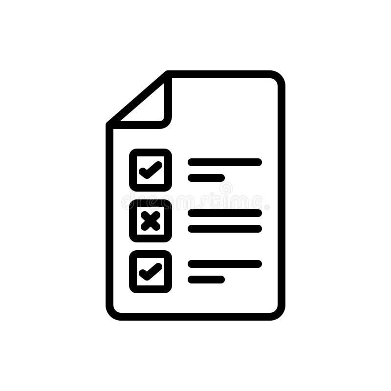 Czarna kreskowa ikona dla testa, zatwierdzenia i cenienia, royalty ilustracja