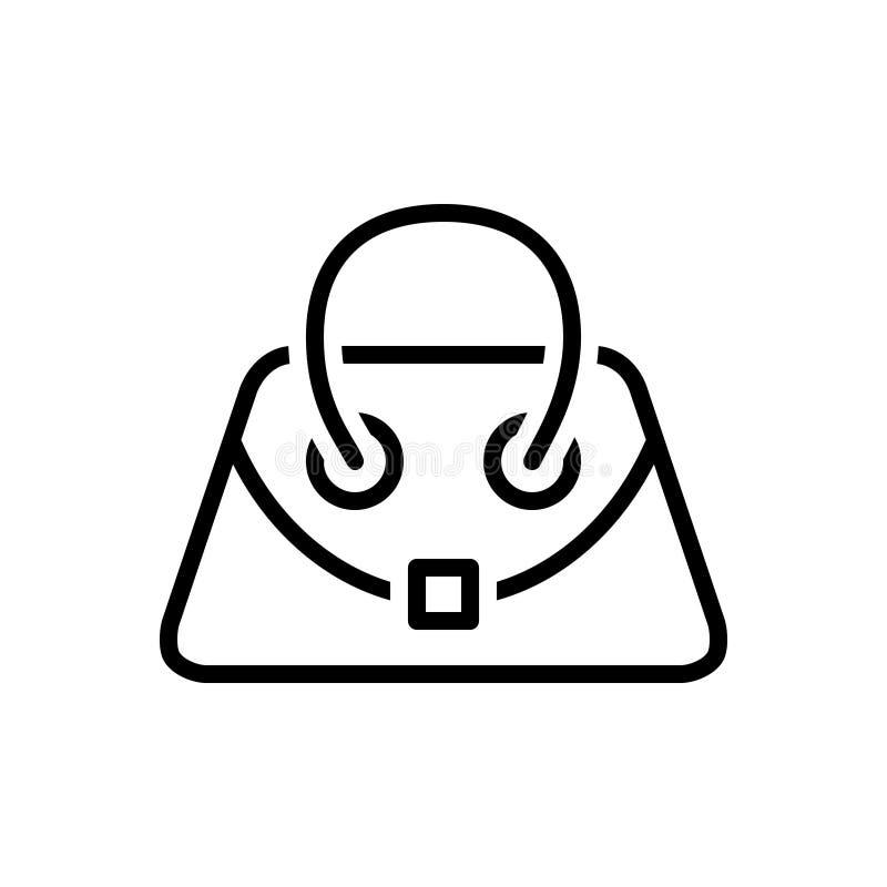 Czarna kreskowa ikona dla torebki, kieszonki i kiesy, royalty ilustracja