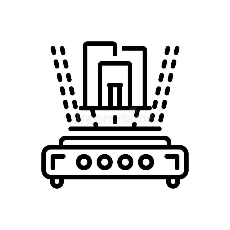 Czarna kreskowa ikona dla, trójwymiarowy, royalty ilustracja