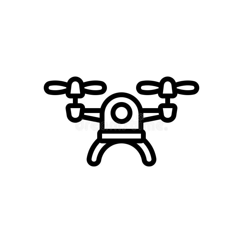 Czarna kreskowa ikona dla trutnia, quadcopter i kamery, royalty ilustracja