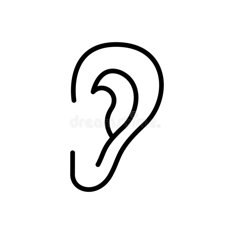 Czarna kreskowa ikona dla ucho, s?ucha i s?ucha royalty ilustracja