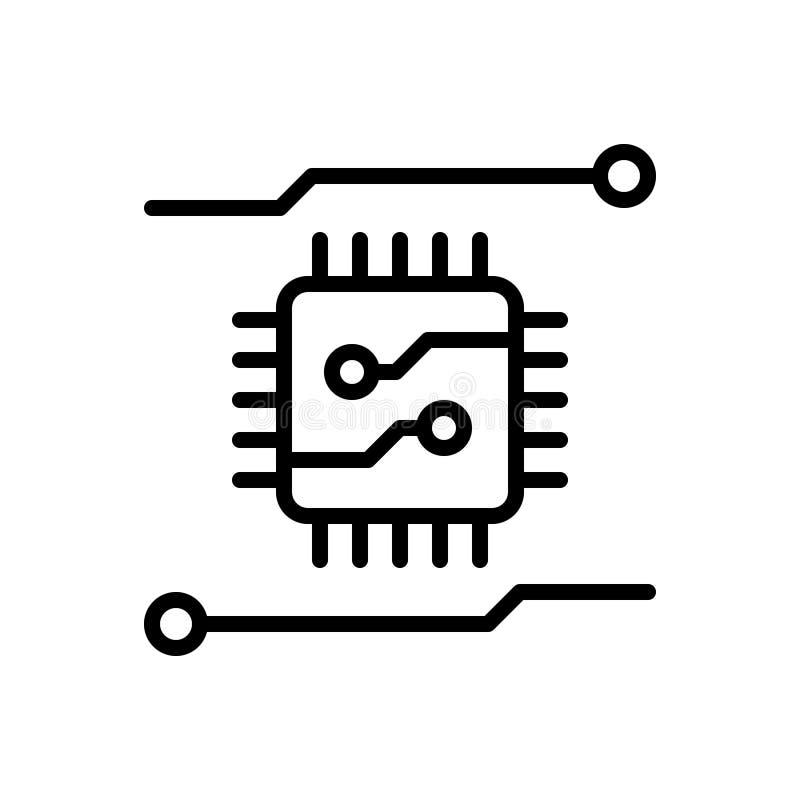 Czarna kreskowa ikona dla układu scalonego, komputeru i narzędzia, ilustracja wektor