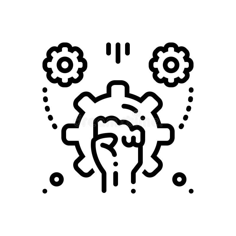 Czarna kreskowa ikona dla Upełnomocniać, rewolucji i ręki, ilustracja wektor