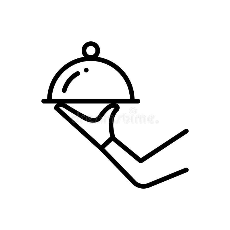 Czarna kreskowa ikona dla usługi, gotowy i robić royalty ilustracja