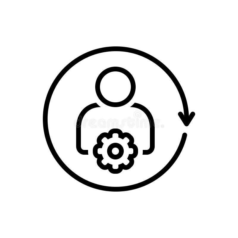 Czarna kreskowa ikona dla Ustawiać Spływowego interfejs, użyteczność i ustawiać, ilustracji