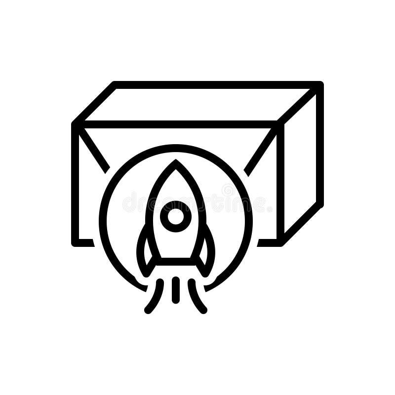 Czarna kreskowa ikona dla uwolnienia, wodowanie i rozpoczęcia produktu, ilustracja wektor