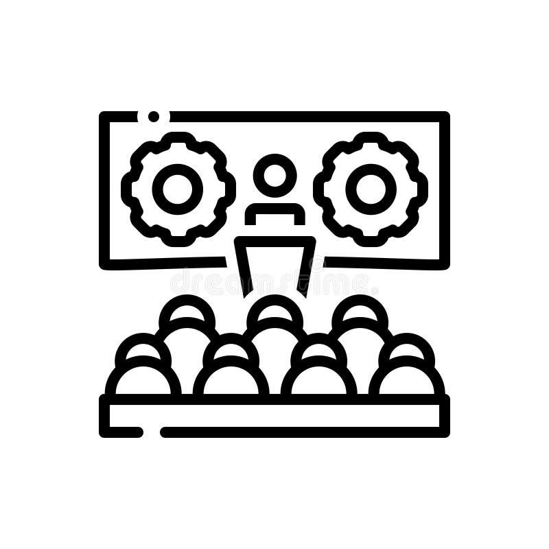Czarna kreskowa ikona dla warsztata, konwersatorium i pomysłów, ilustracji