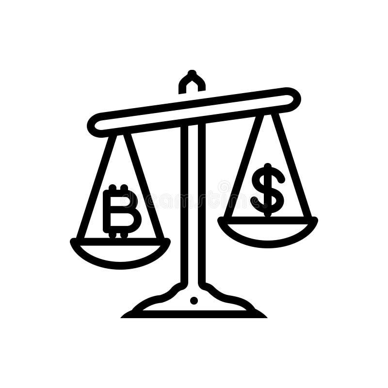 Czarna kreskowa ikona dla wartości porównania, wartość i porównuje royalty ilustracja