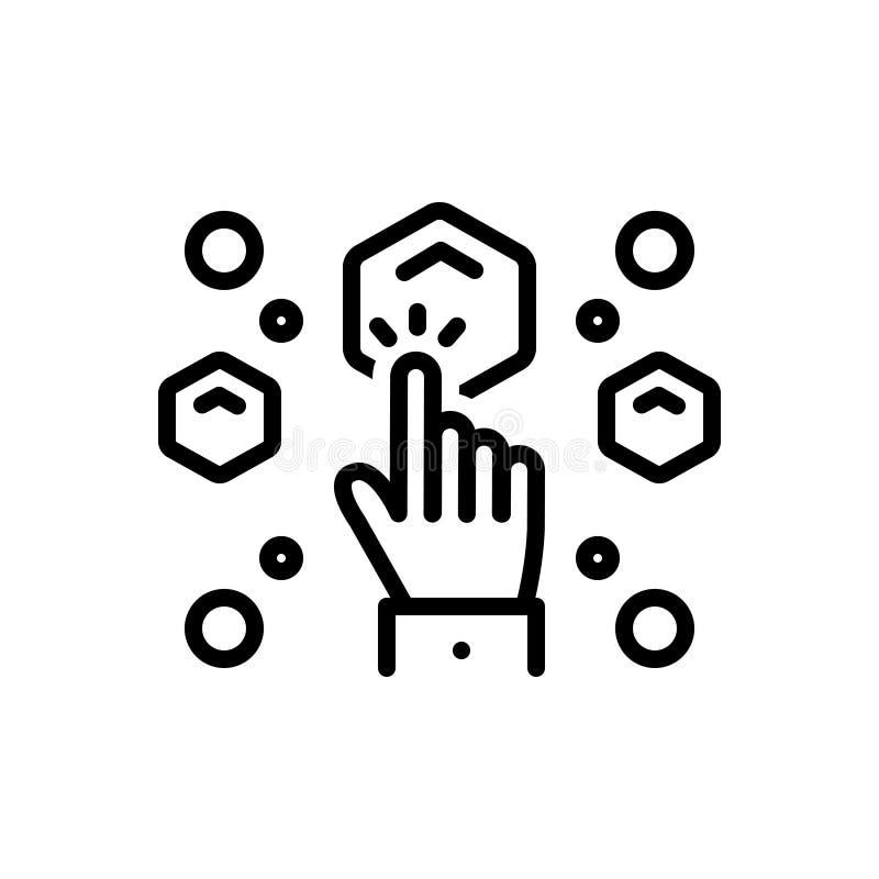 Czarna kreskowa ikona dla Wybieram, wyboru i wyboru, ilustracji