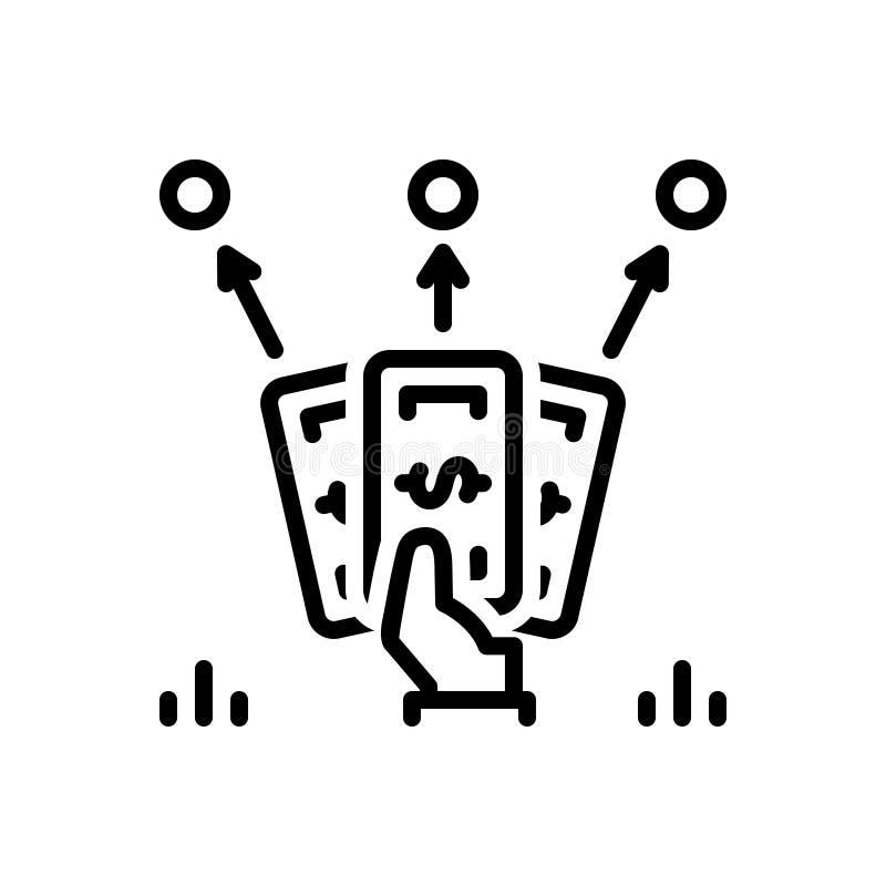 Czarna kreskowa ikona dla zaliczki, porcja długi i zaliczka, ilustracja wektor