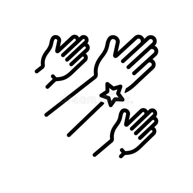 Czarna kreskowa ikona dla zasięg, społeczności i ręki, ilustracji