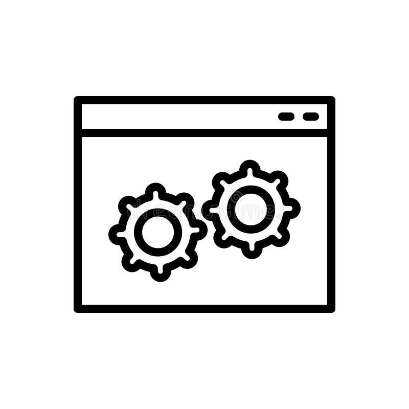 Czarna kreskowa ikona dla zwyczaju, oprogramowania i programa, ilustracji