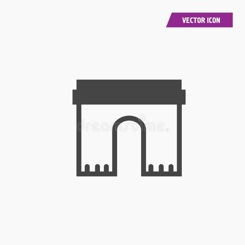 Czarna kreskowa wektoru łuku ikona łuk bramy logo ilustracja wektor