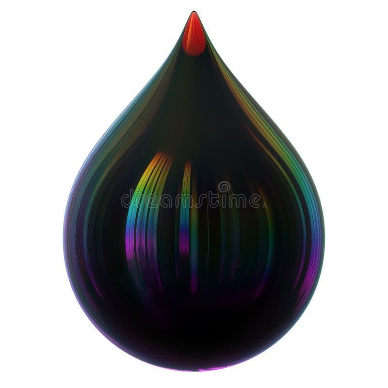 Czarna kropla oleju benzyny benzyny jadu kropelka glansowana Wodny pillution ilustracji