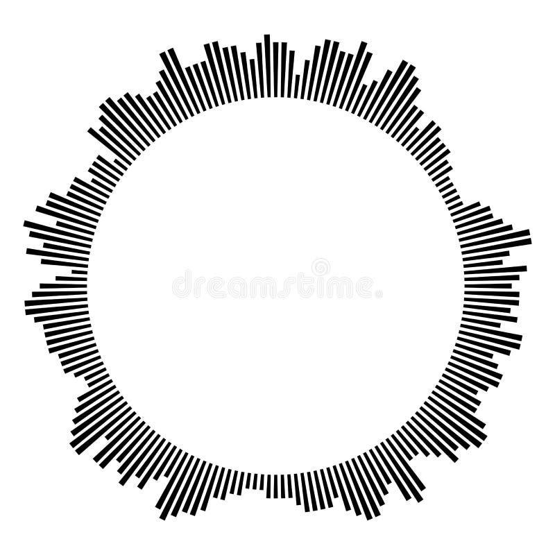 Czarna kurendy rama na białym tle okr?g?y kszta?t Promieniowe czarne koncentryczne cząsteczki ilustracja wektor