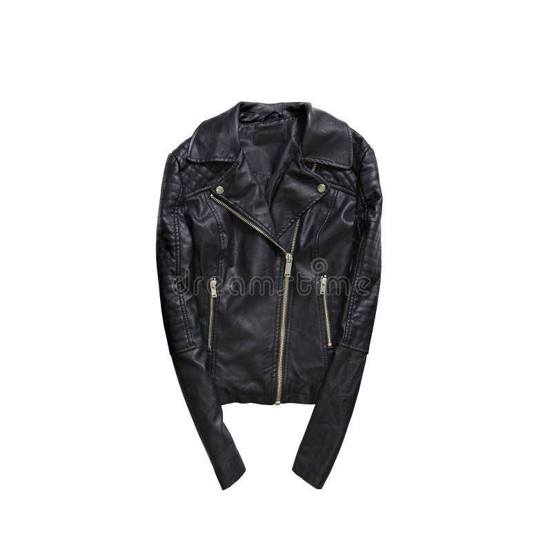 czarna kurtka skóry modny pojęcie odosobniony bielu plecy fotografia royalty free