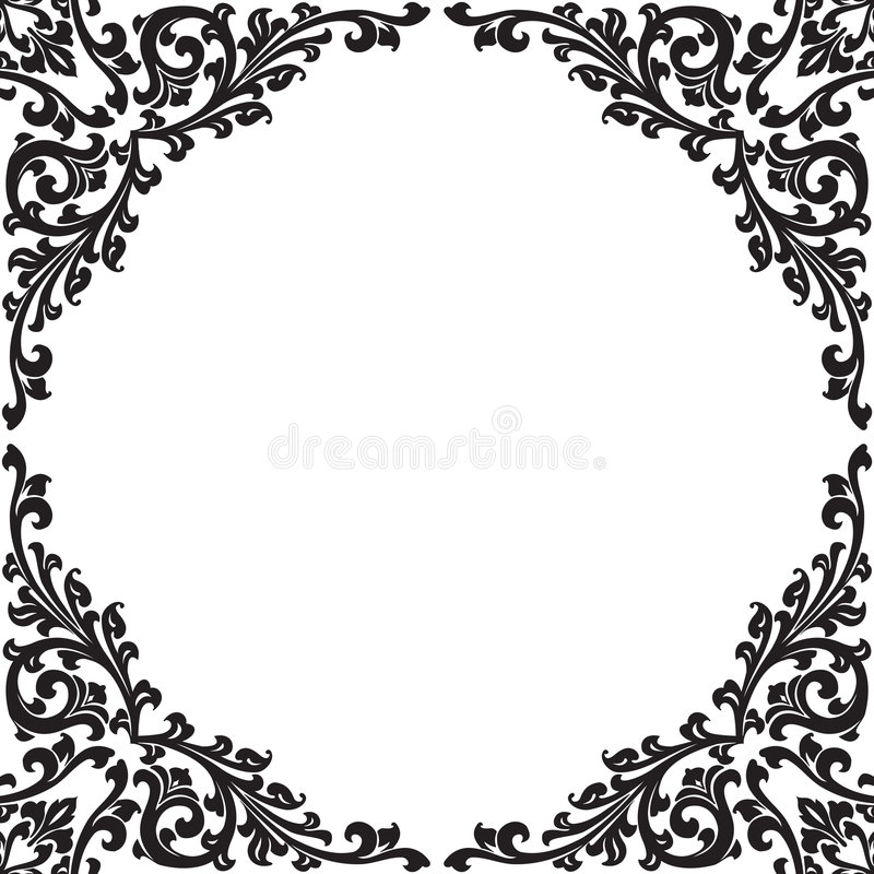 czarna kwiecista rama royalty ilustracja