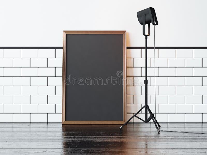 Czarna lampa i, biel ściana świadczenia 3 d zdjęcia stock