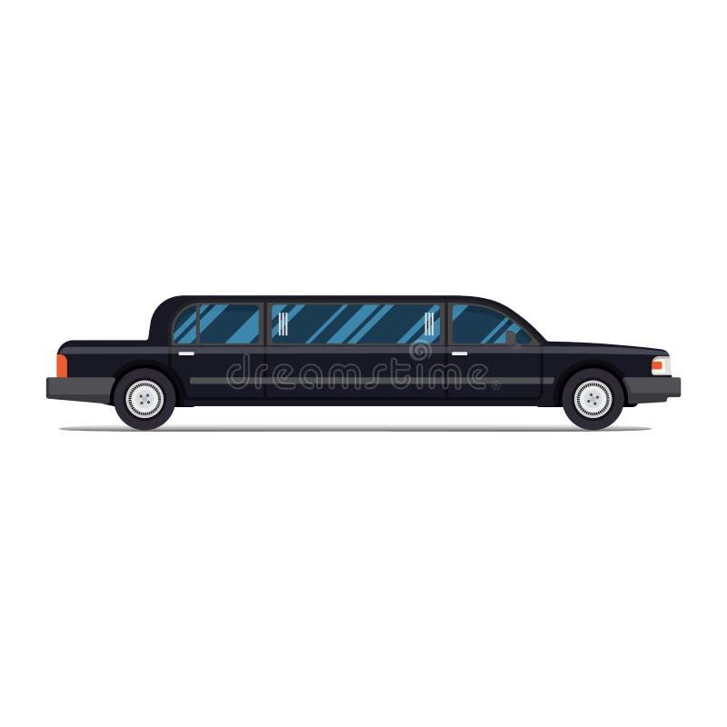 czarna limuzyna limuzyna Płaska wektorowa ilustracja isolate Luxary pojazd Boczny widok royalty ilustracja