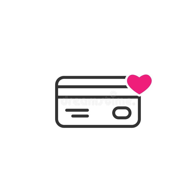 Czarna linia kredyta karta debetowa z różowym sercem Prezent karty ikona Bank teraźniejszości znak ilustracji
