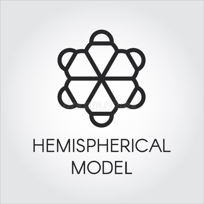 Czarna liniowa ikona hemisferyczny model Konturowa etykietka chemiczne serie Sfery cząsteczkowa etykietka kuli ziemskiej loga wek royalty ilustracja