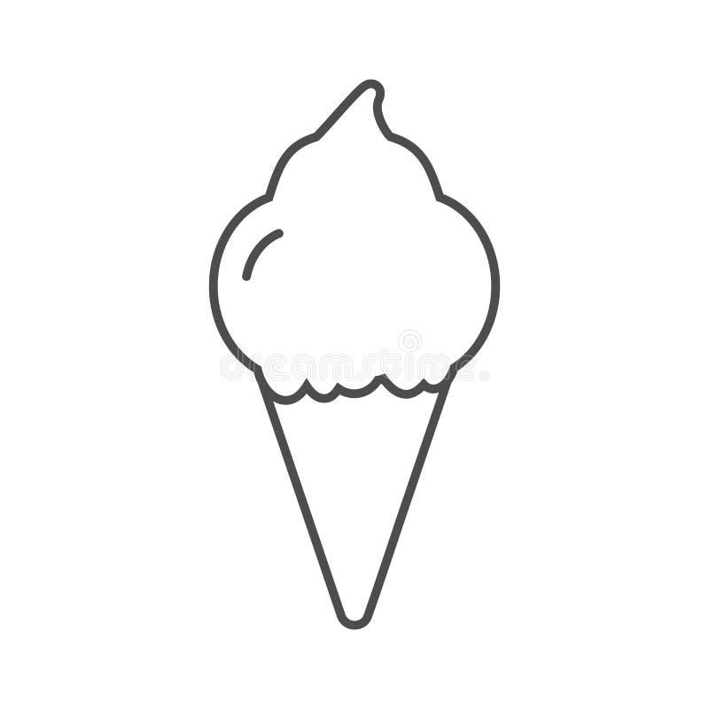 Czarna lody ikona odizolowywająca na białym tle ilustracji